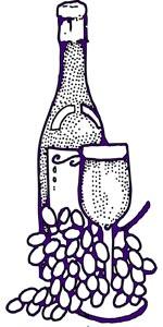 葡萄和酒瓶酒杯