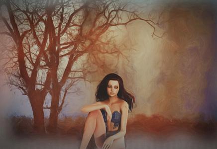 人物树木油画背景图
