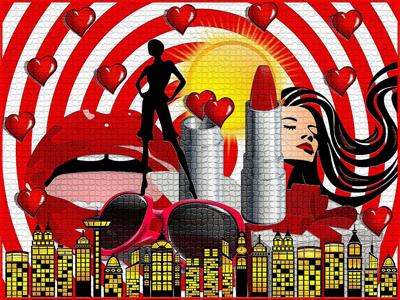 城市背景红色人物和红唇