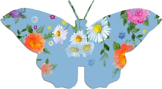 蝴蝶剪纸上的鲜花