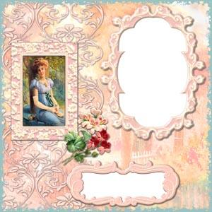 粉色卡片上的花纹和女子照片