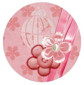粉色圆圈内的鲜花