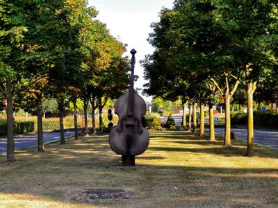 公园树林草地与大提琴