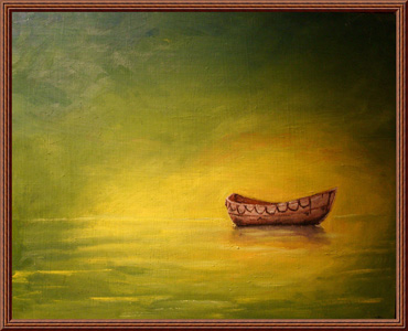 水面上的木船壁画