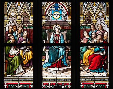教堂窗花油画图片