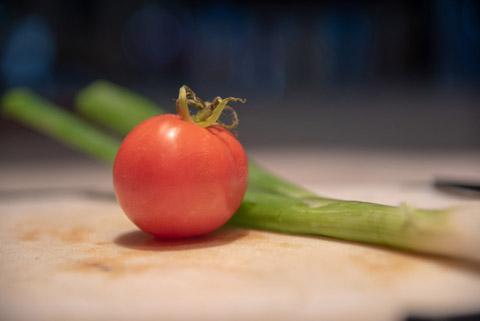 小葱西红柿摄影